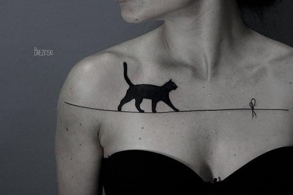 Тату кошки на груди