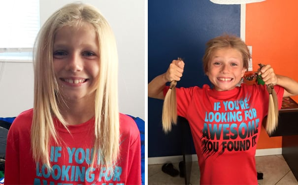 Ребенок два года отращивал волосы, чтобы сделать парик для больных раком детей