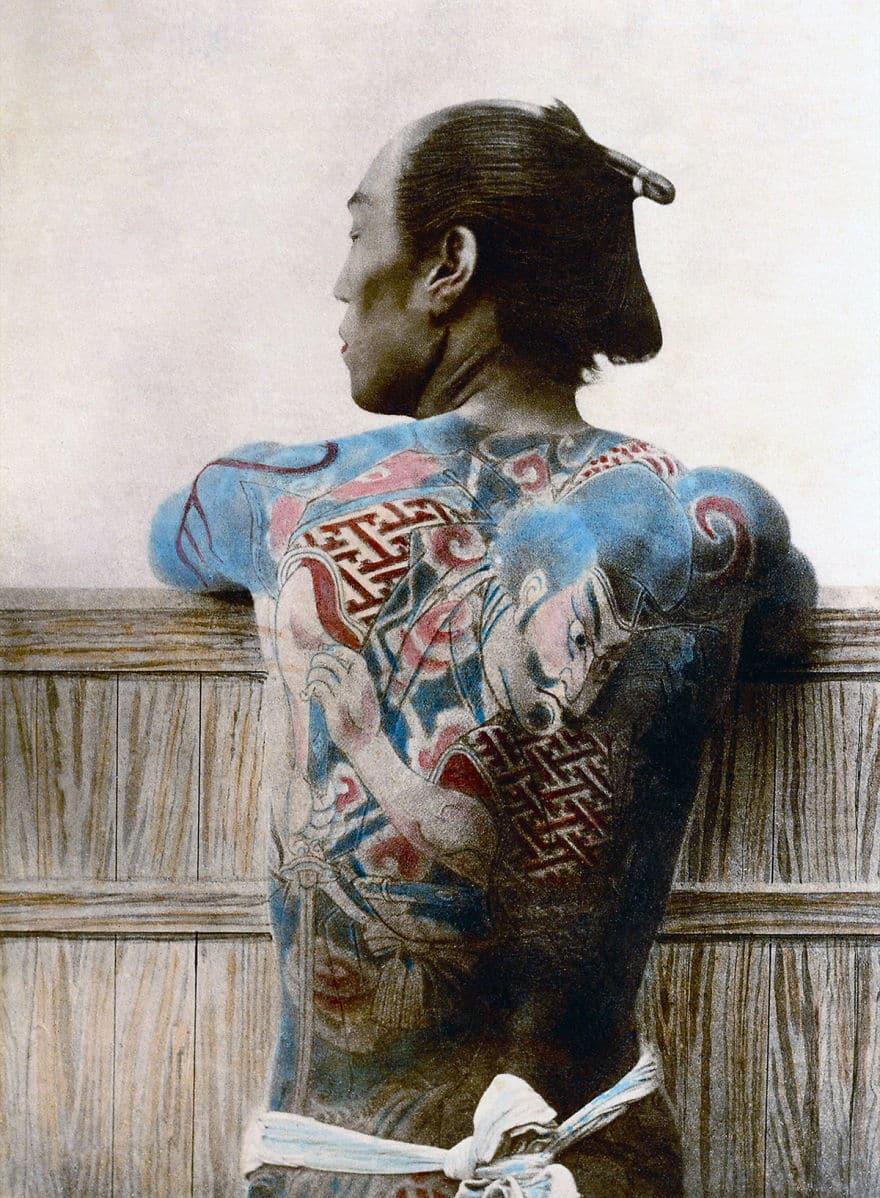 Тату на спине самурая