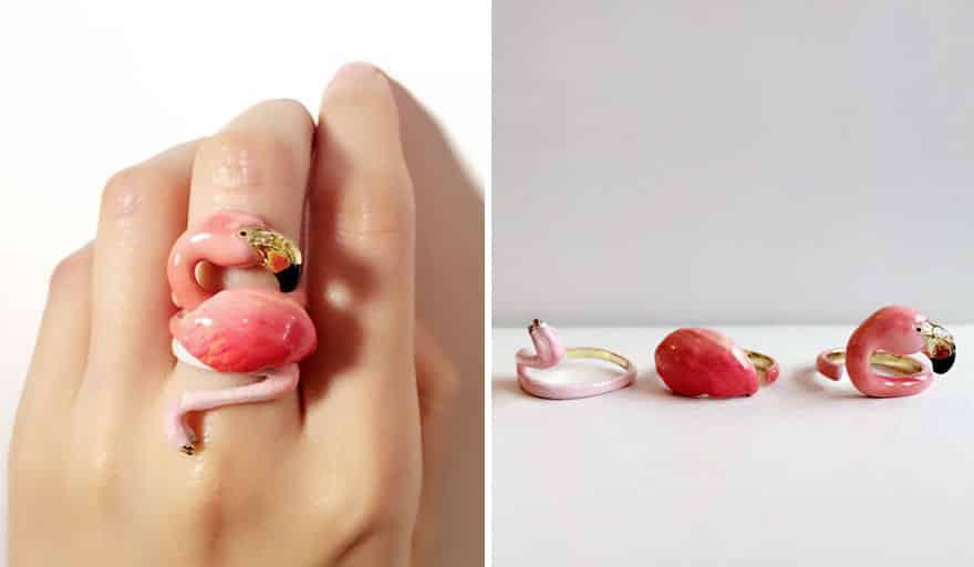 Кольцо с розовым фламинго
