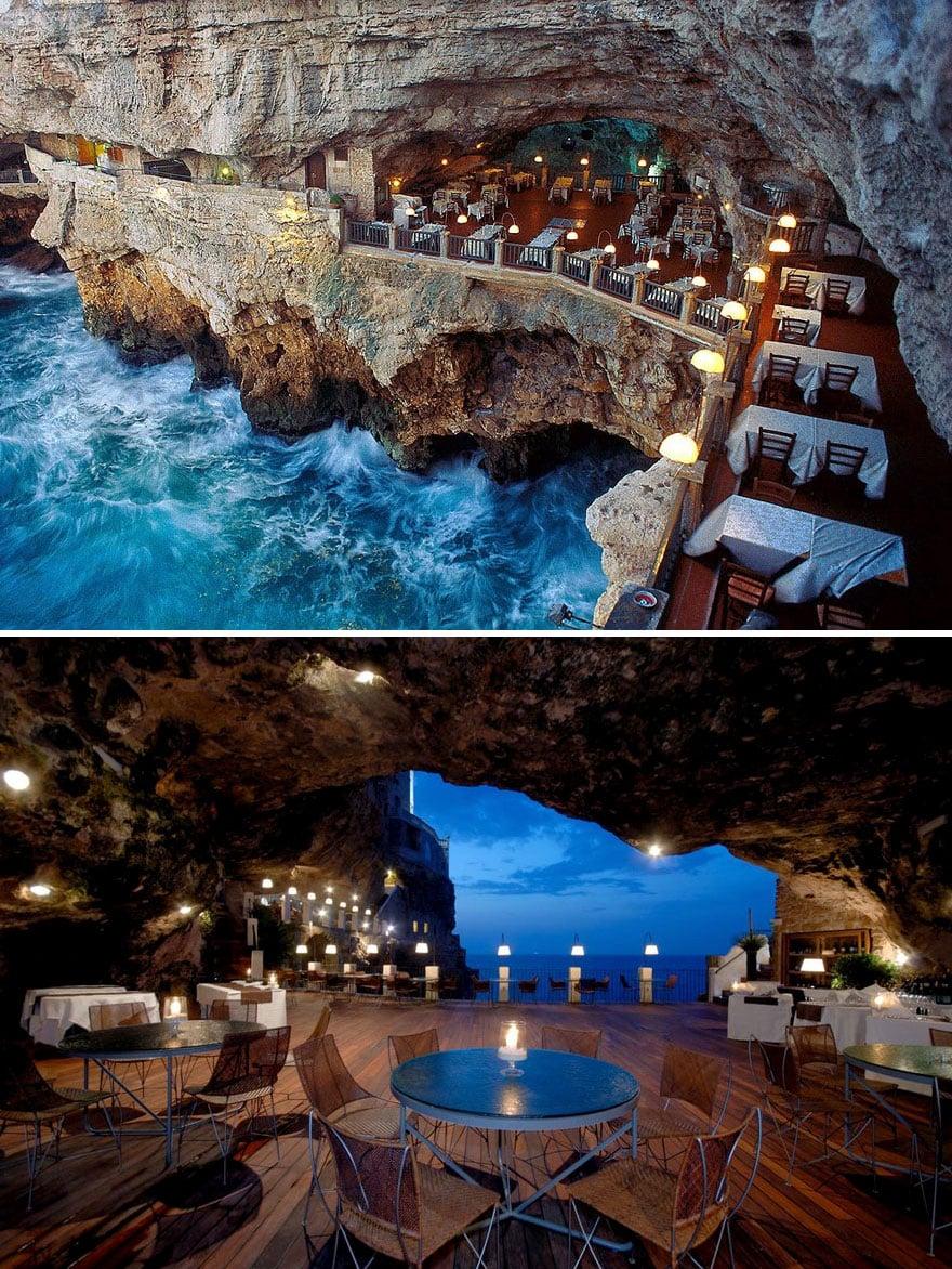 В пещере ресторан Grotta Palazzese, Апулия, Италия