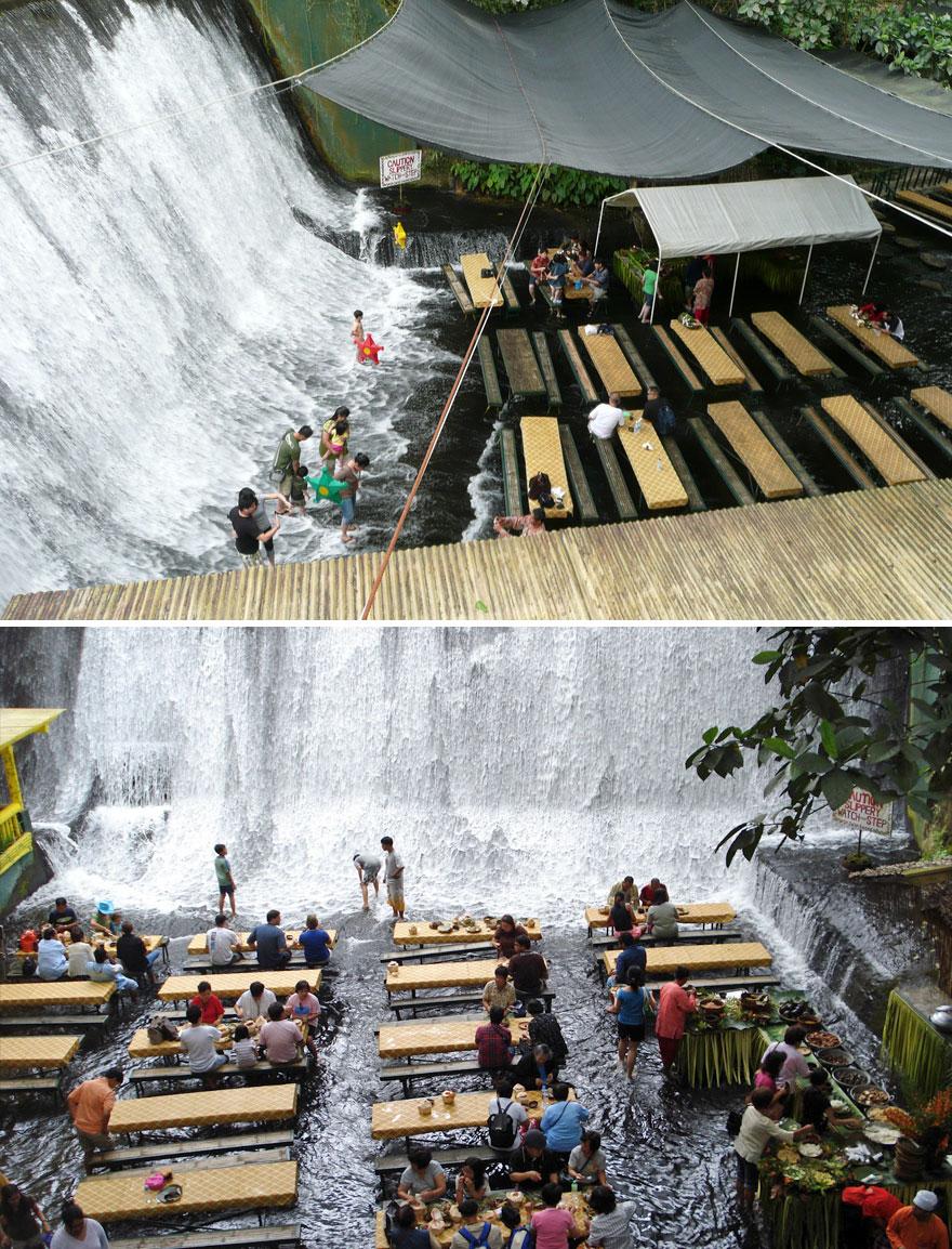 Ужин в центре водопада, ресторан водопад Лабассин, Вилла Escudero Resort, Филиппины