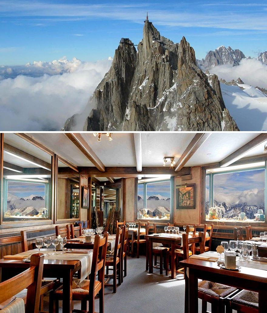 Ресторан Aiguille Du Midi на высоте 3842 метров, Шамони, Франция
