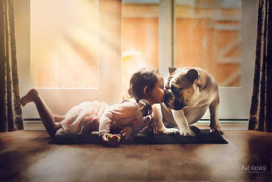 Домашняя собака и девочка