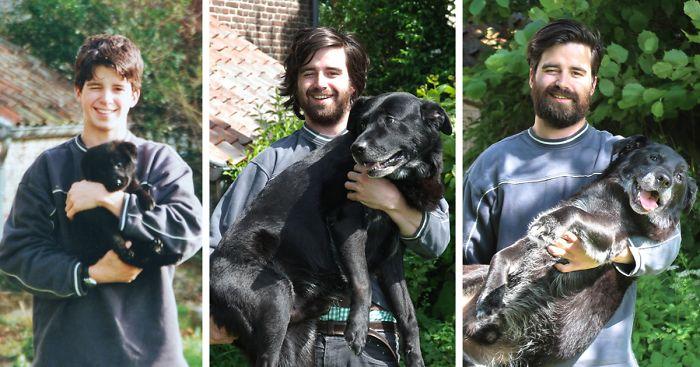 Собака выросла вместе с хозяином