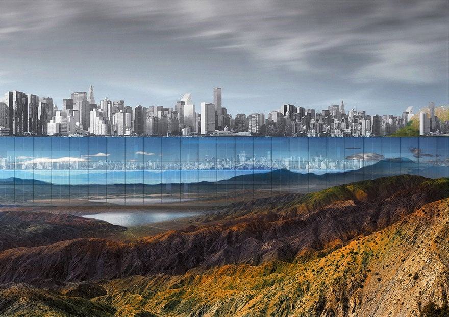 Центральный парк в Нью-Йорке со стеклянной стеной
