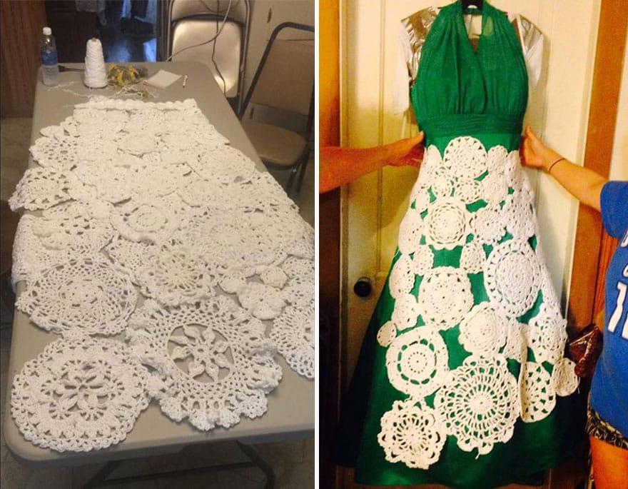 Этапы вязания свадебного платья