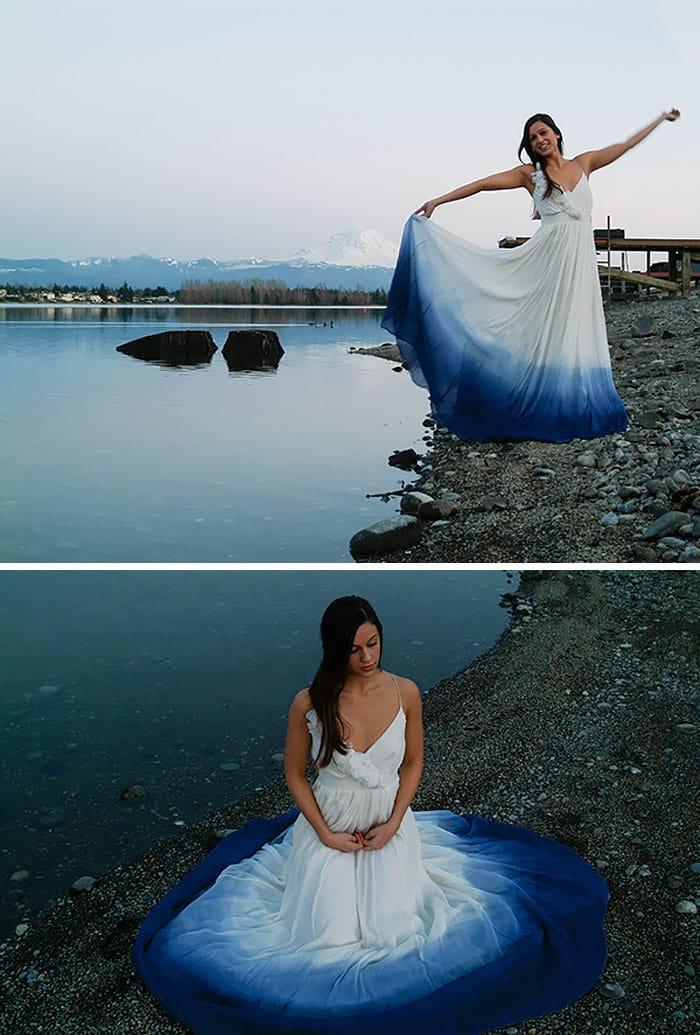 Свадебный наряд для прогулок у реки
