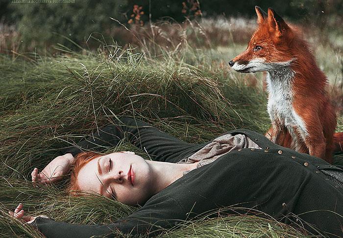 Лиса охраняет сон хозяйки