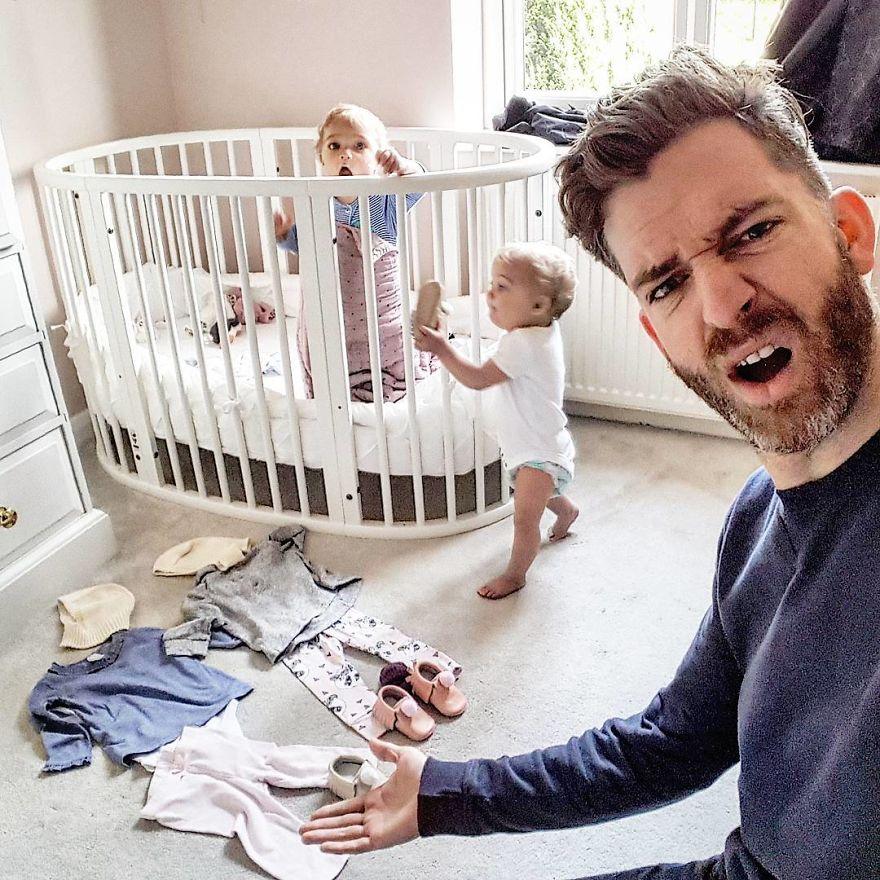 Селфи папы с малышами