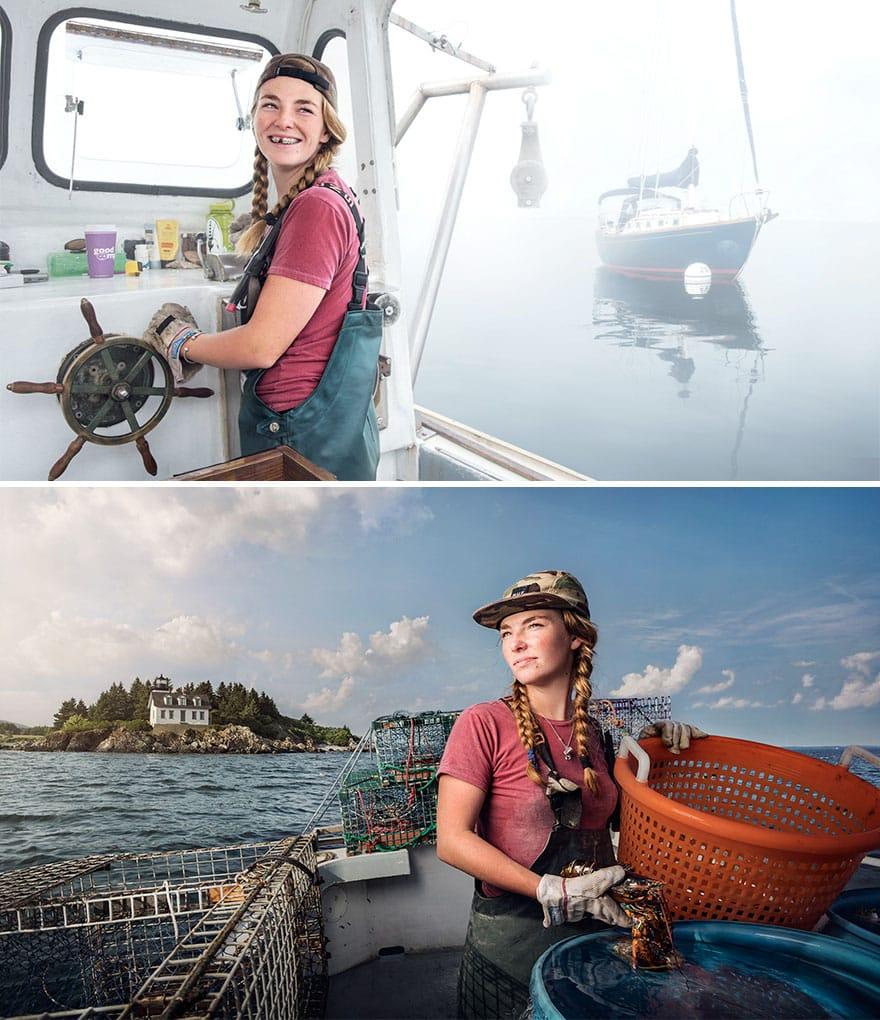 Женщина рыбак